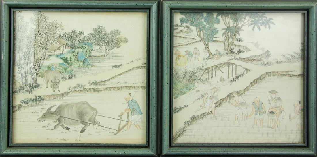 Pair of Watercolour on Paper Paintings w/ Frames