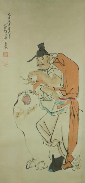 Ren Bonian 1840-1895 Watercolour on Paper Scroll
