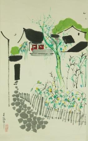 Watercolour on Paper Scroll Wu Guanzhong 1919–2010