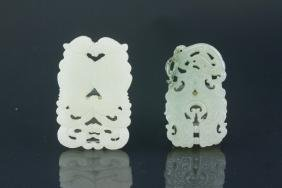2 PC Chinese White and Green Jade Pendant