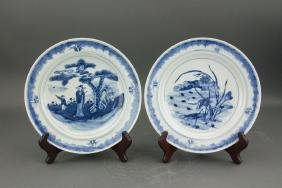 Pair Chinese Exported B&W Porcelain Plate 2Ring Mk