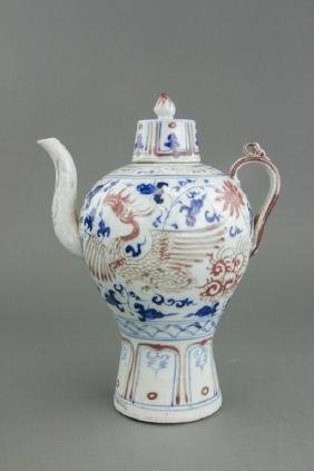 Chinese Blue&White w/ Copper Red Porcelain Teapot