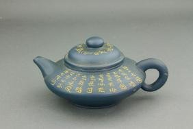 Chinese Blue Zisha Teapot with Artist Mark
