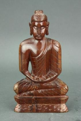 Chinese Wood Carved Seated Buddha