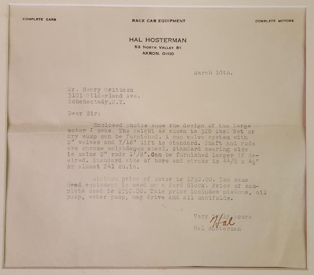 Full HAL race motor photos and letter - 2