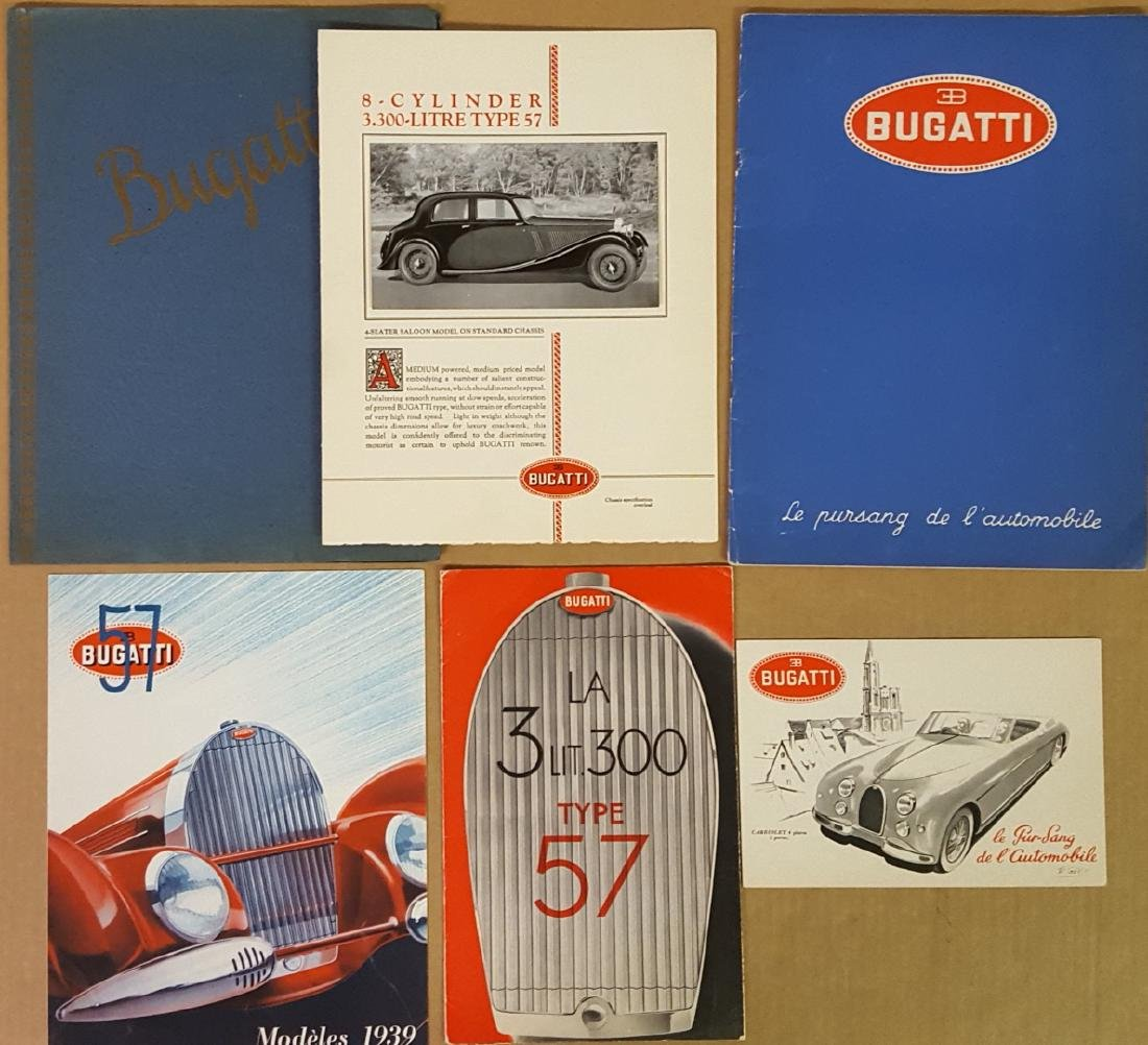 Bugatti brochures - four Type 57, and one Type 101
