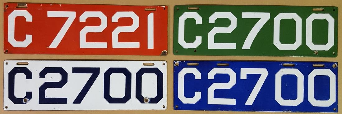Four CT porcelain license plates