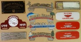 Lot of license plate toppers, etc