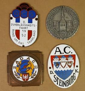 Four 1950's German event badges