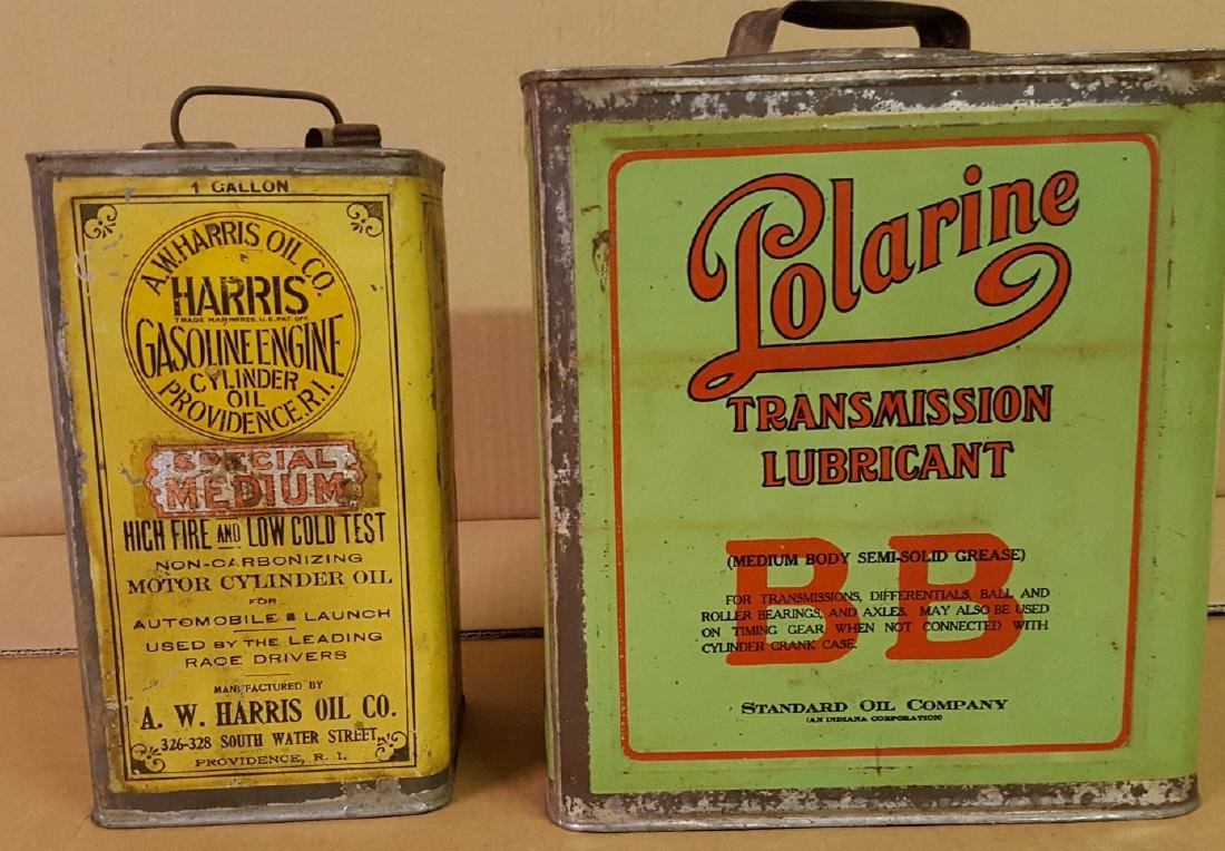 Two early petroliana cans