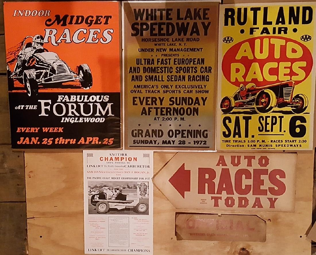 Six racing related posters