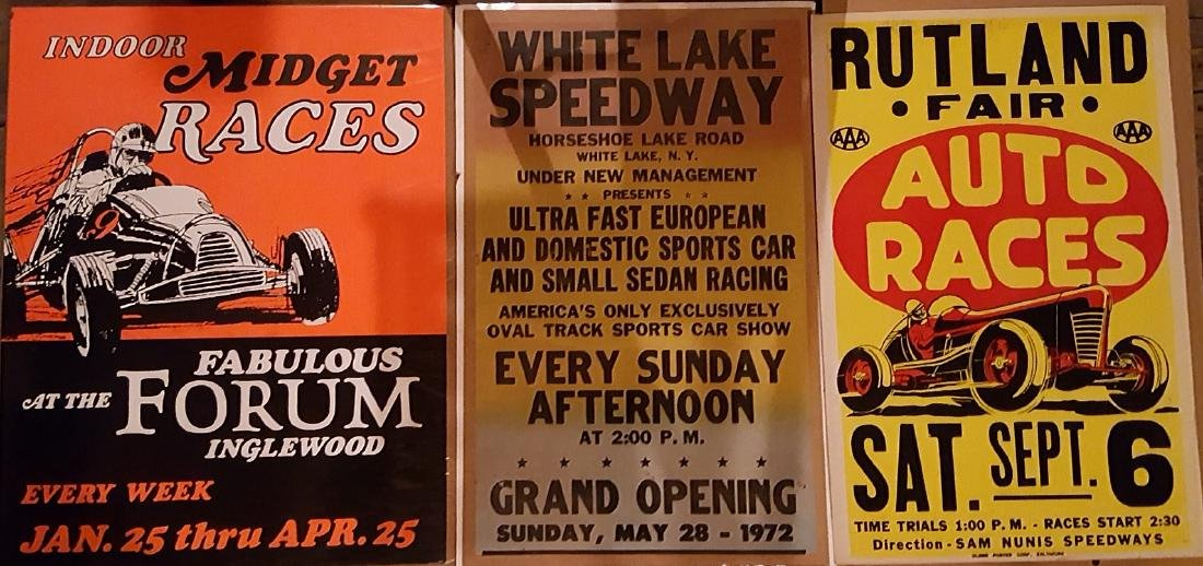 Six racing related posters - 2