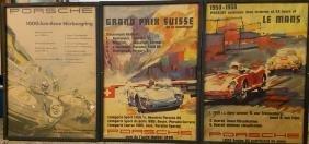 Three 1950's Porsche victory posters