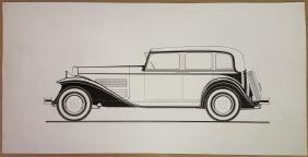 Pen and ink design rendering of a sedan