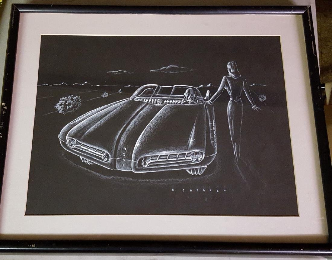 Futuristic 1952 Pontiac B & W design drawing