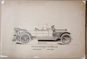 Ca 1914 pen & ink Locomobile Healey Body design