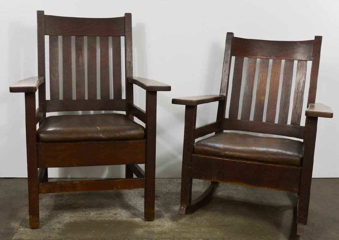 Mission Oak Rocker and Chair