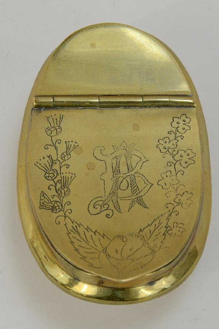 Antique Brass Snuff or Tobacco Box