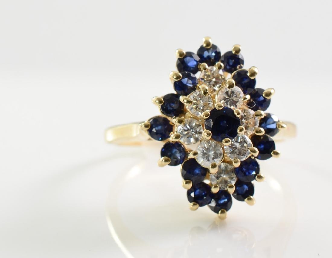 Ladies 14K Diamond Sapphire Ring - 2