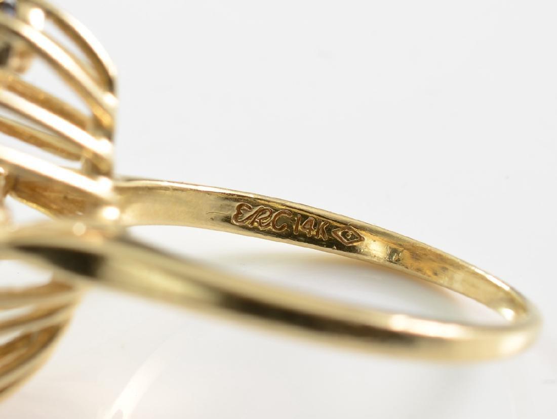 Ladies 14K Diamond Sapphire Ring - 3
