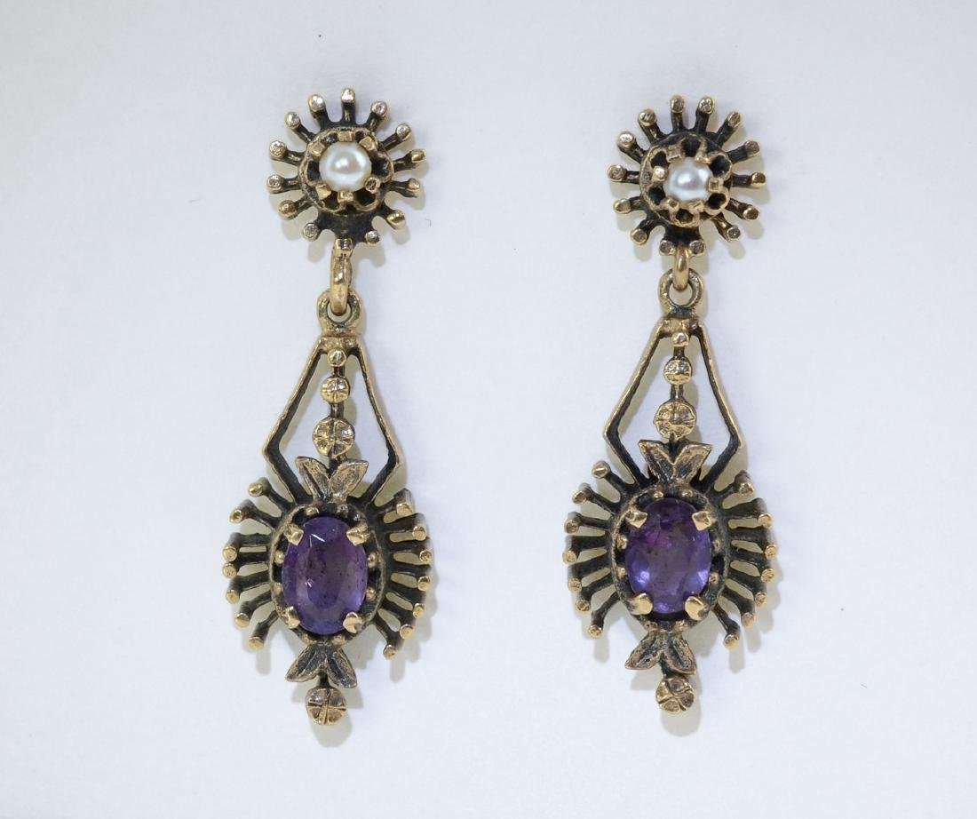 Ladies 14K Antique Amethyst Earrings
