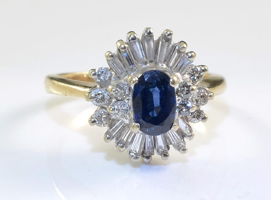 Ladies 14K Diamond Sapphire Ring