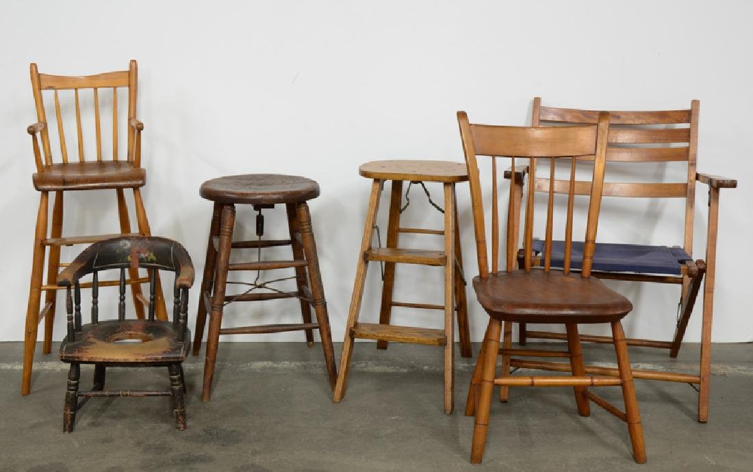 six pieces chairs and stools