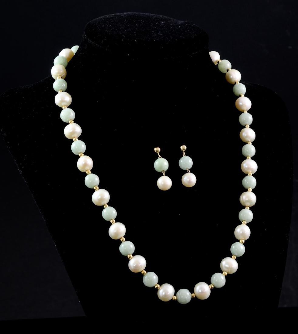 14K Jade and Pearls