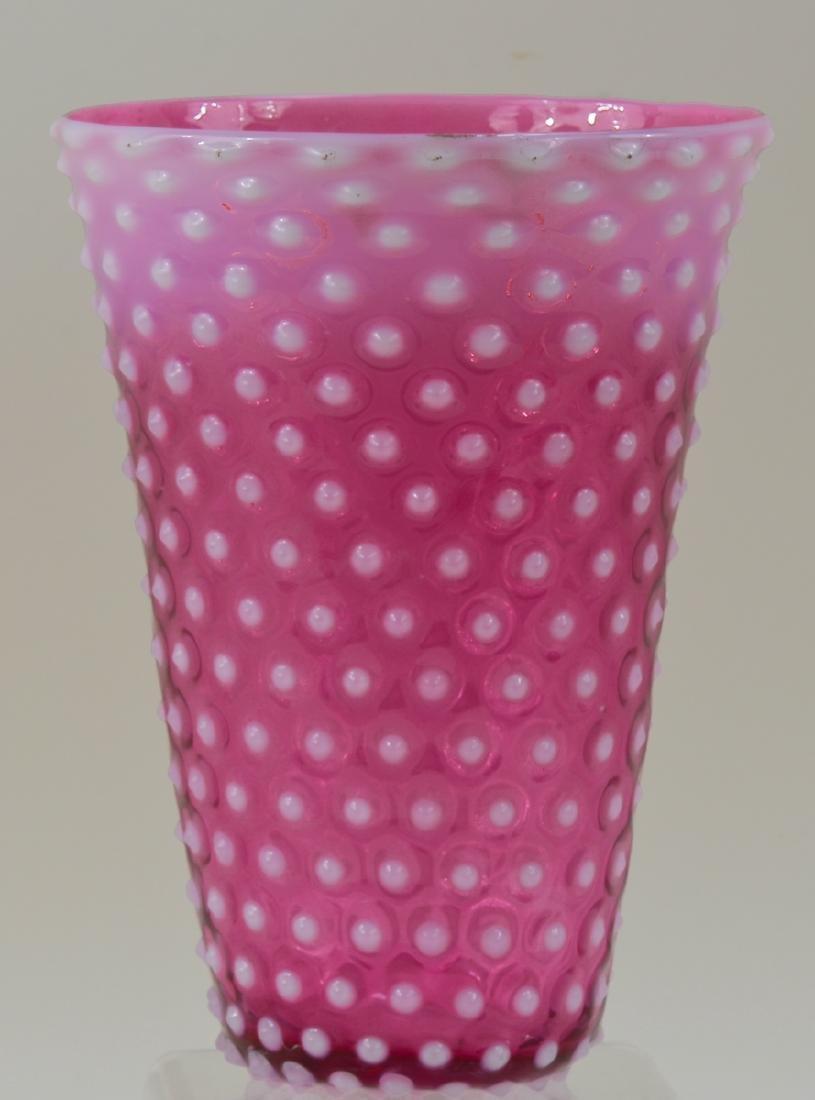 Fenton Cranberry Hobnail Art Glass Vase