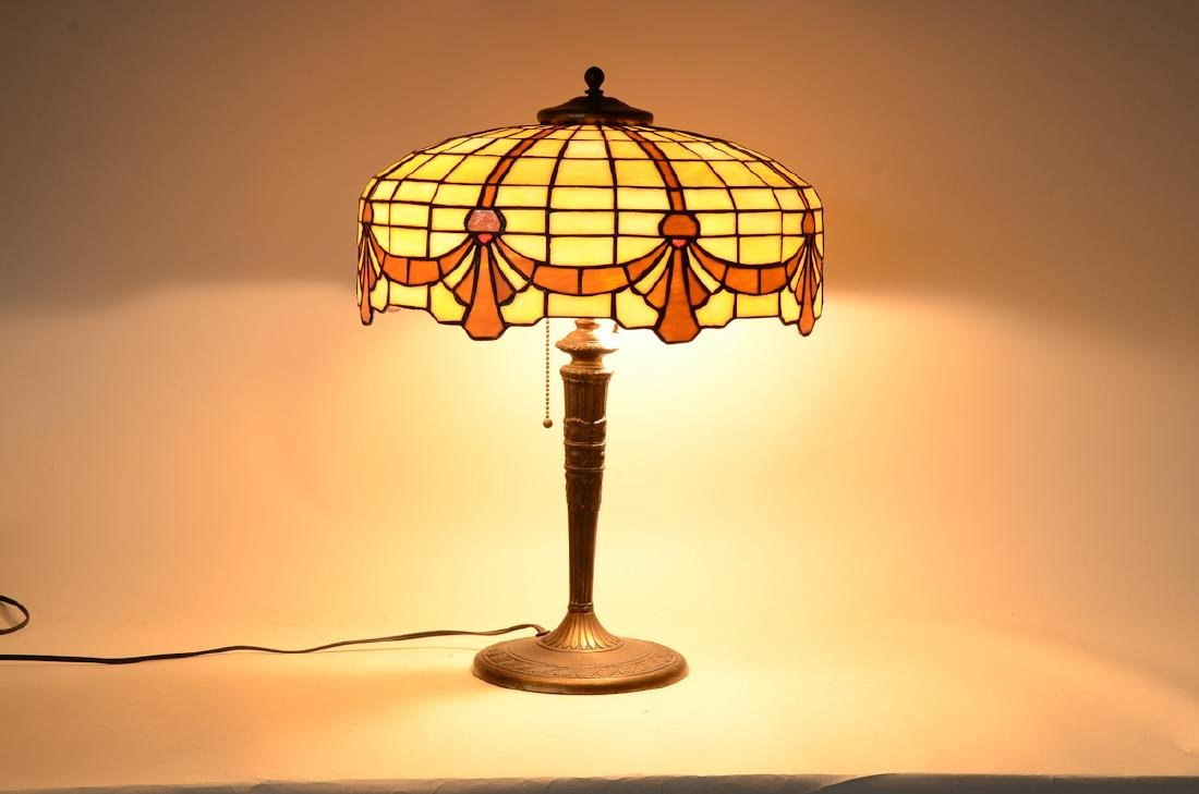 Antique Leaded Glass Table Lamp - 3
