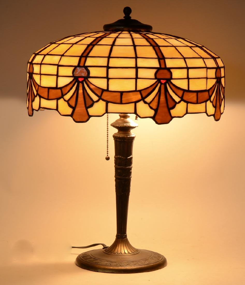 Antique Leaded Glass Table Lamp - 4