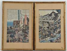 Two Japanese Samurai Woodblock Prints