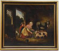 Antique Oil on Canvas: Barn Interior