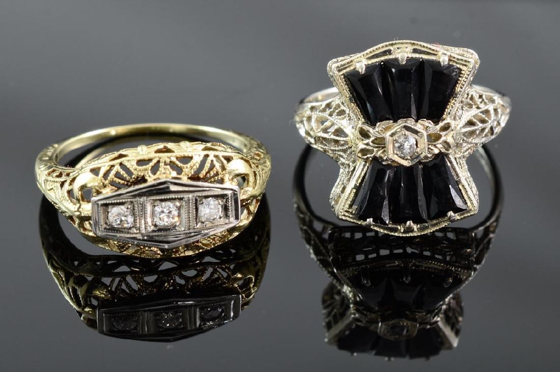 Two Antique Ladies Diamond Rings
