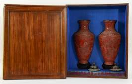 Chinese Cinnabar Lacquer Vases