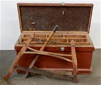 Antique Painted Tool Box w Contents