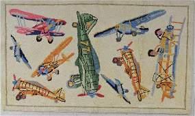 Airplane Theme Hooked Rug