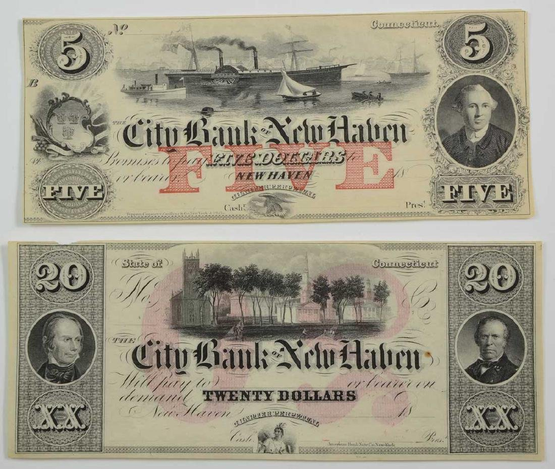 Two New Haven Broken Bank Notes