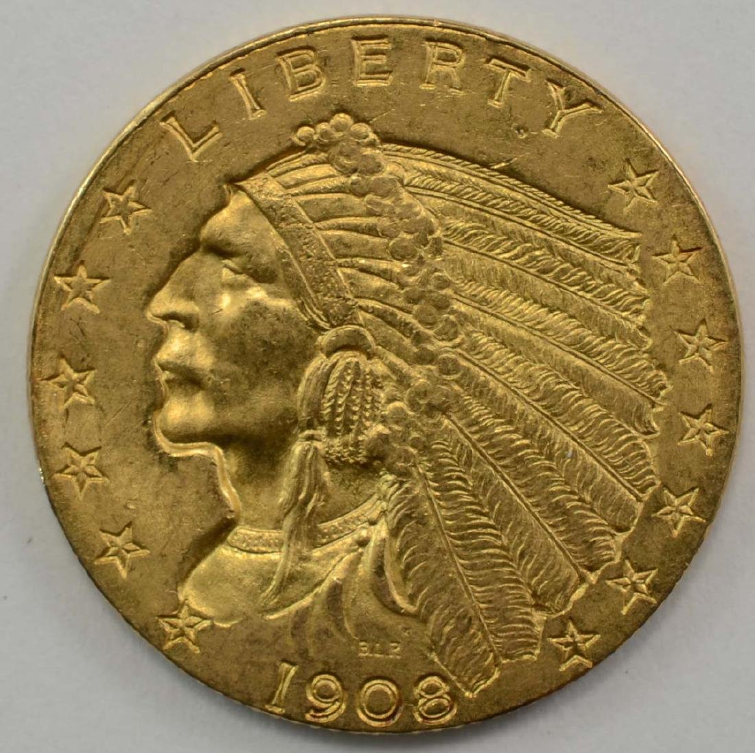 1908 2 1/2 Gold Indian Coin