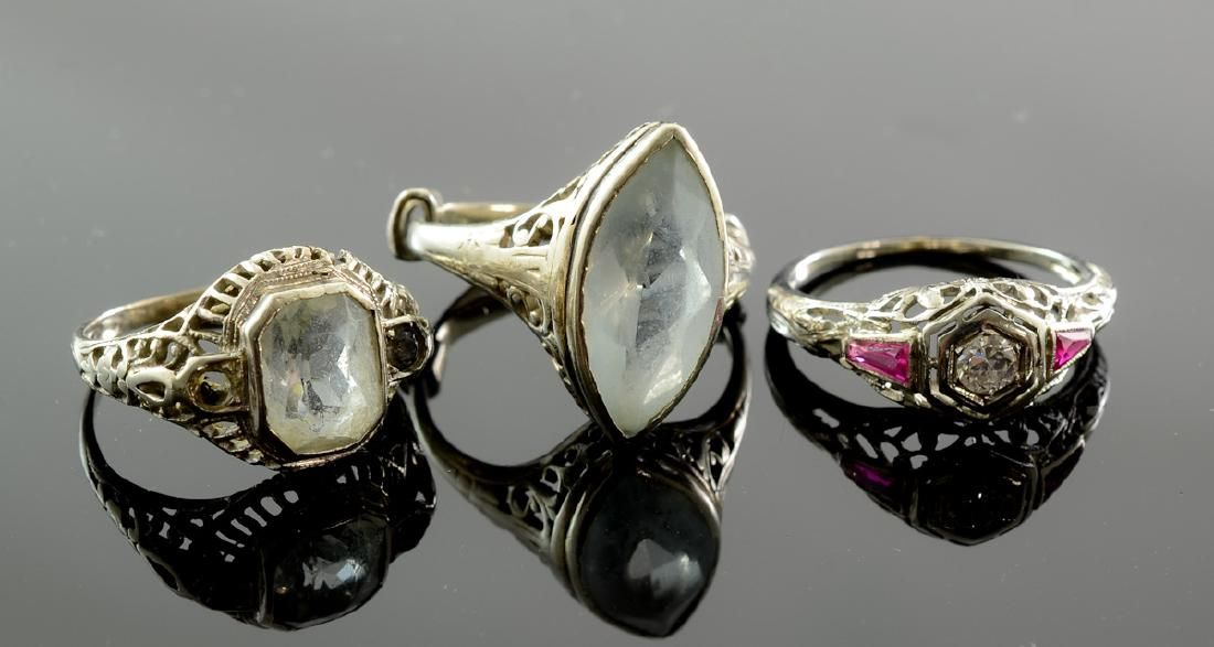 3 Ladies 14K Art Deco Rings