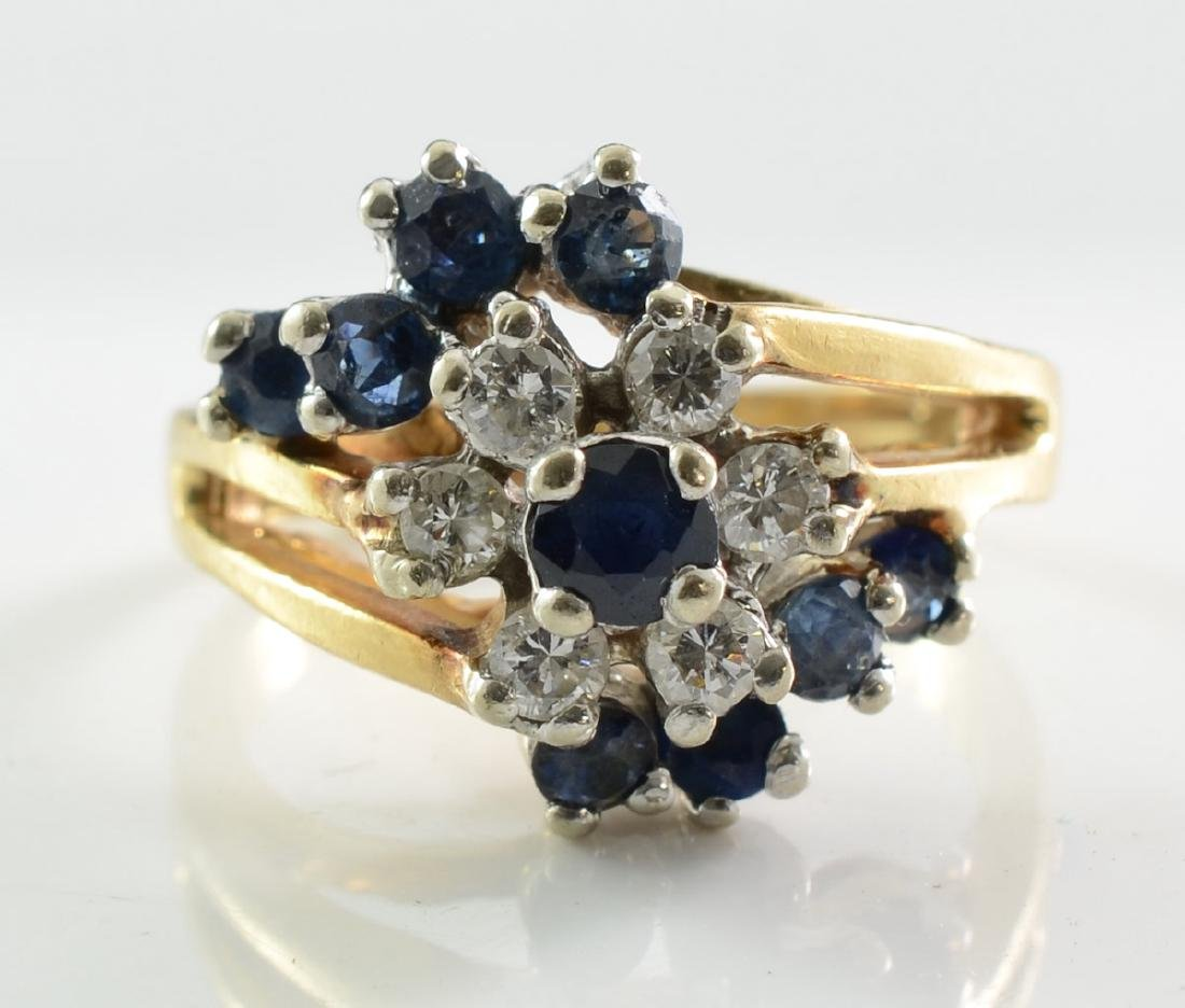 Ladies 14K Diamond & Sapphire Cocktail Ring