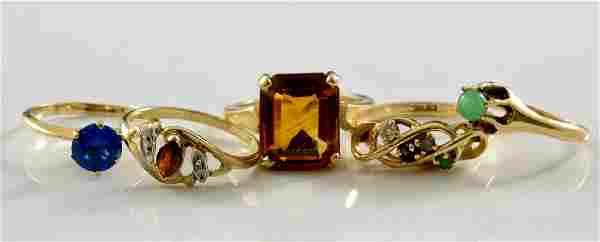 Five Ladies 14K Gold Rings