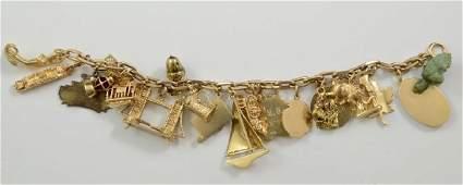 Ladies 14K gold Charm Bracelet