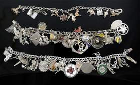 3 Ladies Sterling Silver Charm Bracelets