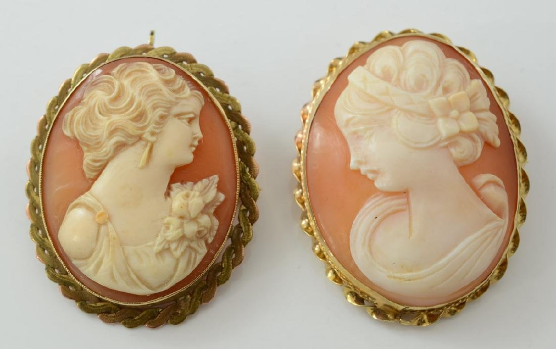 Two Antique Cameo Pins