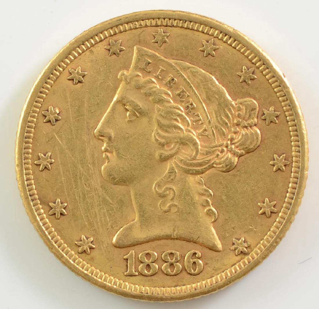 1886 US $5 Gold Liberty Coin