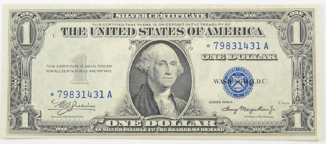 A 1 us silver certificate star note 1935 a 1 us silver certificate star note xflitez Images
