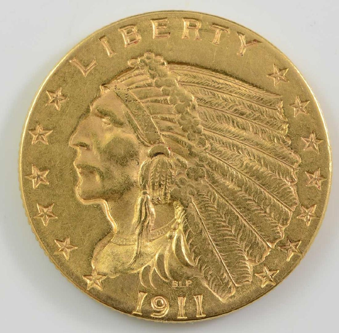 1911 $2 1/2 Indian Quarter Eagle Gold Coin