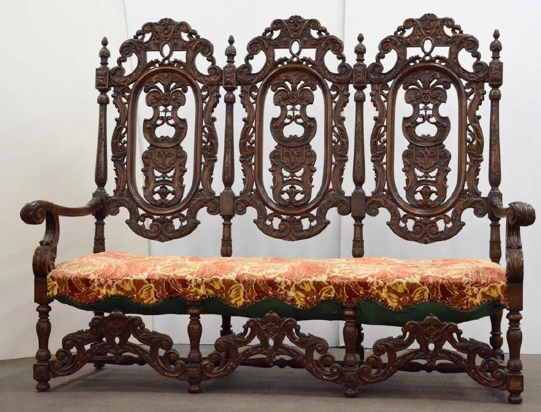 Renaissance Revival Hall Bench