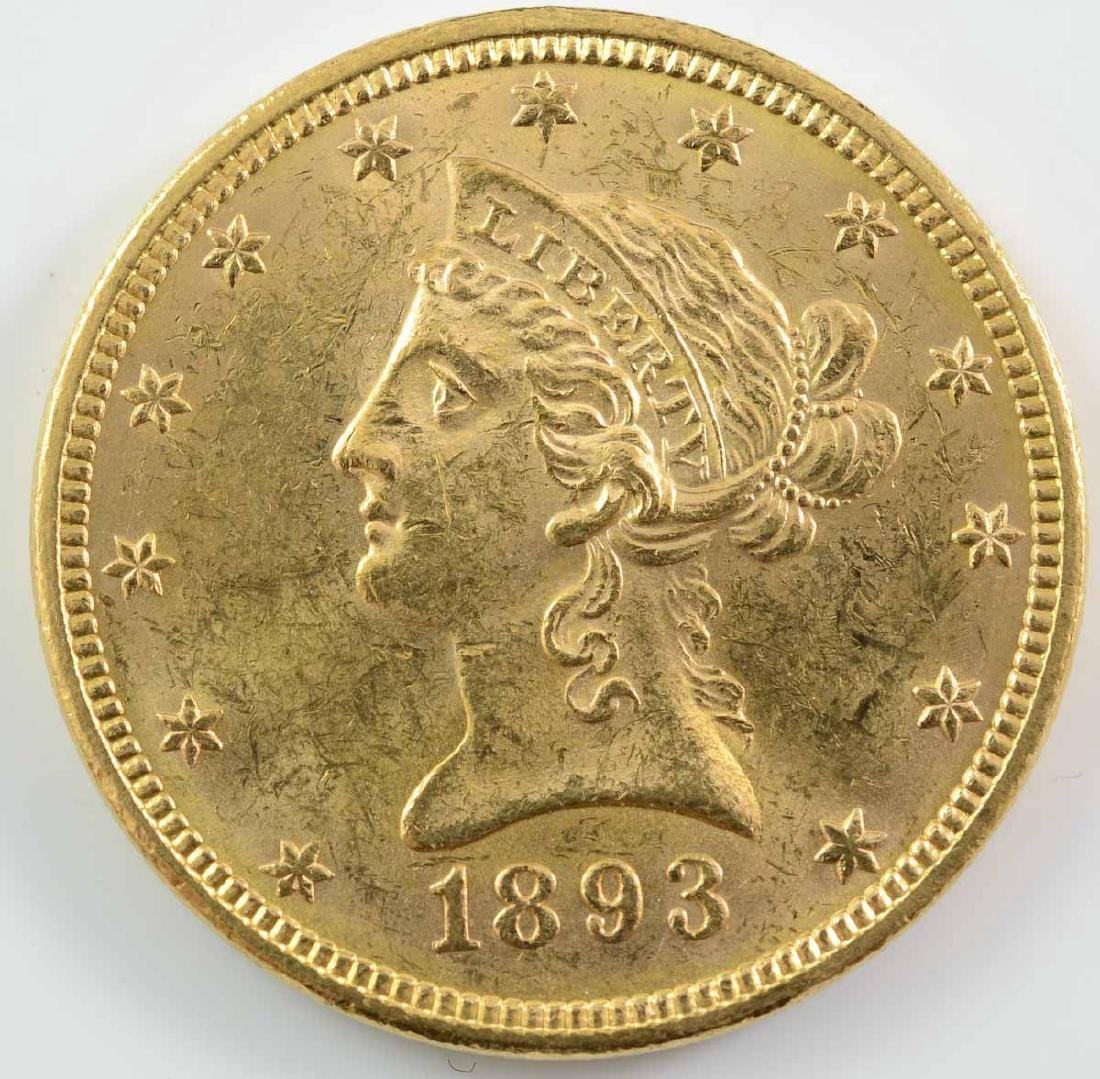 1893 $10 Liberty Gold Eagle Coin